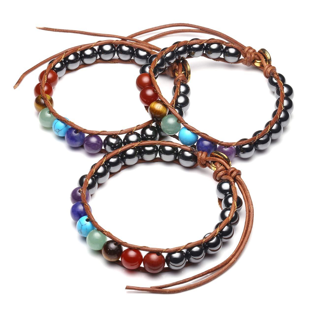 CrystalTears Bracelet en Pierre /Énergie 7 Chakras Quartz Cristal 8mm Rond Om Boucle Bracelet Tress/é R/églable Gu/érison Reiki M/éditation Yoga /Équilibre Femme Homme