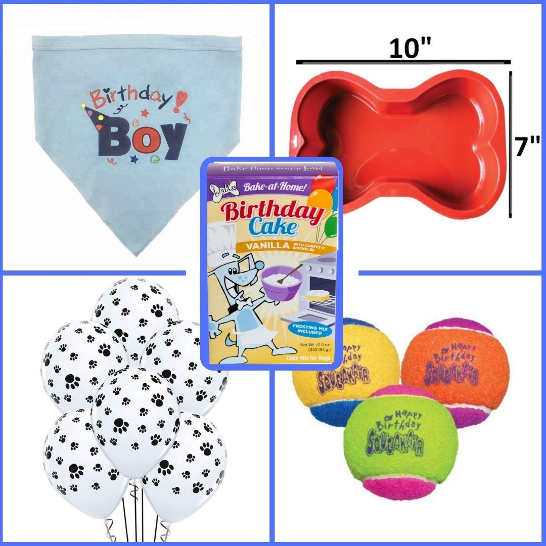 Dog Birthday Cake Mix and Frosting With Reusable Silicone Bone Cakes Baking Pan | 100% Natural Puppy Cake Mix | 6 Paw Print Balloons, Blue Happy Birthday Dog Bandana and 3 Toy Squeaky Birthday Balls by Giant Dog Paws (Image #3)