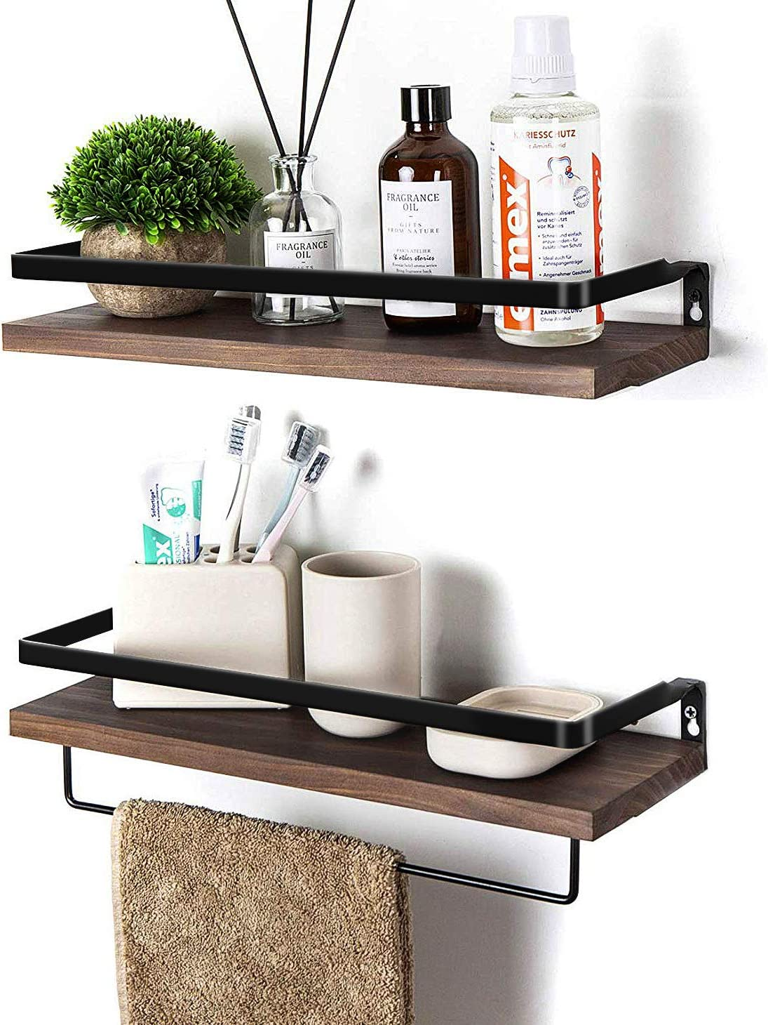 Soduku Floating Shelves Wall Mounted Storage Shelves for Kitchen, Bathroom,Set of 2 Brown: Furniture & Decor