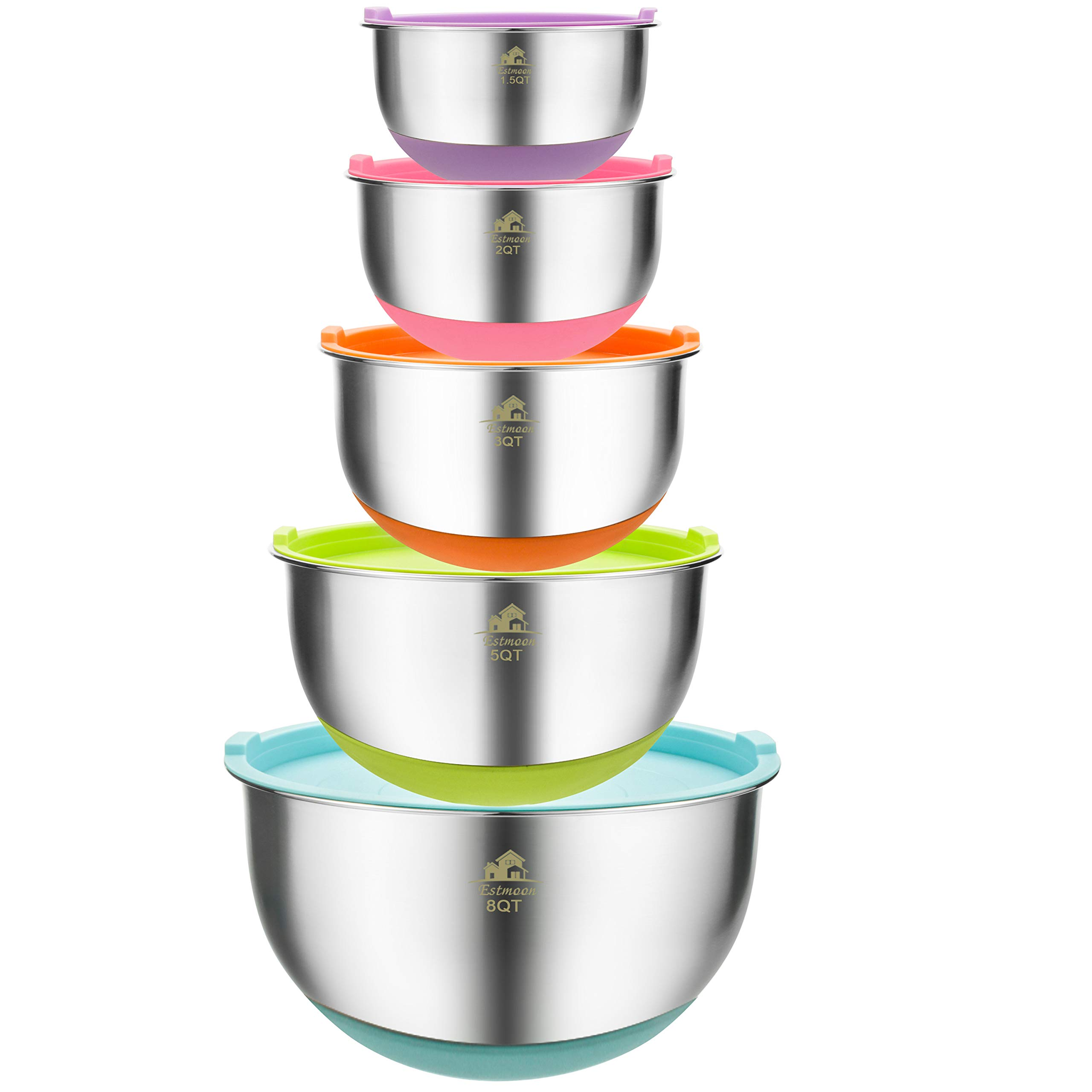 Estmoon Mixing Bowls Set of 5 - Premium Stainless Steel Nesting Mixing Bowls with Lids, Non-Slip Colorful Silicone Bottom, for Healthy Meal Mixing, Stackable Storage (1.5, 2.0, 3.0, 5.0, 8.0 qt)