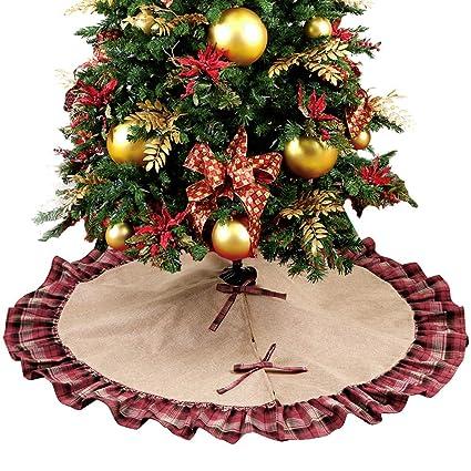 aparty4u ruffled christmas tree skirt 48 inches red and black plaid christmas burlap tree skirt