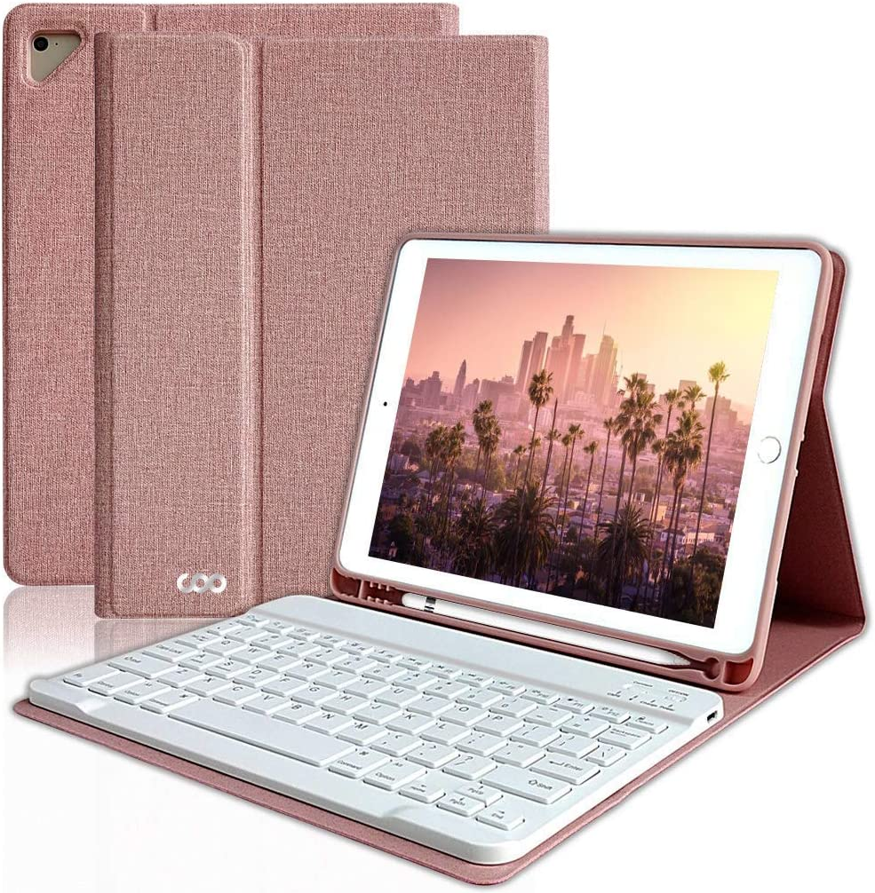 iPad Keyboard Case 6th Gen for 9.7 iPad Pro 2018/2017 (5th Gen), iPad Air 2/Air, Wireless Bluetooth Detachable Protective Cover with Pencil Holder, Smart Auto Sleep-Wake (Champagne)