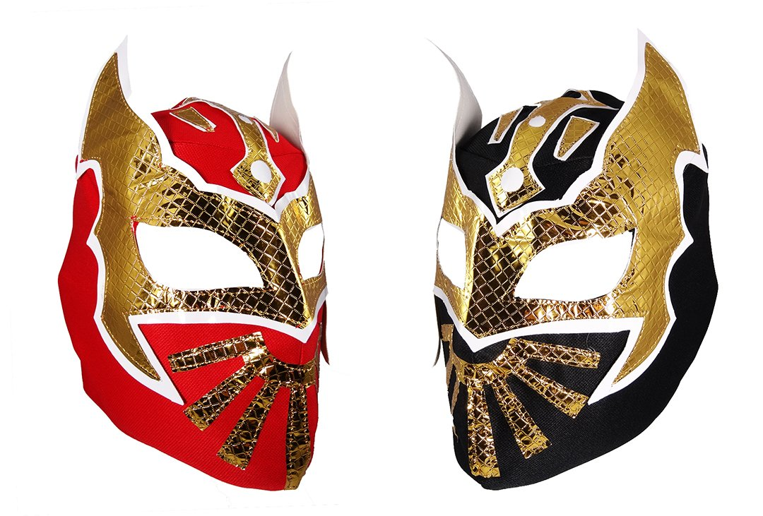 2 pack SIN CARA Youth Lucha Libre Wrestling Mask - KIDS Costume Wear - Party Pack Red/Black by Mask Maniac