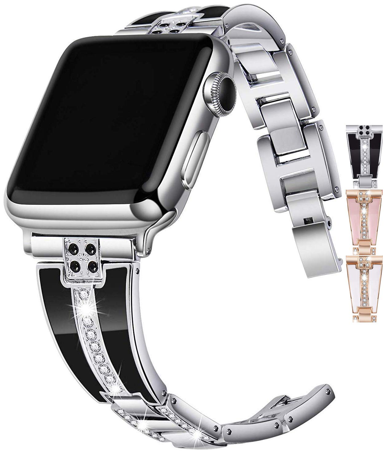 JSGJMY Bling Bands Compatible with Apple Watch Band 38mm 40mm 42mm 44mm with Case,Women Diamond Rhinestone Metal Jewelry Wristband Strap for iwatch Series 5/4/3/2/1 (Silver, 38mm/40mm) by JSGJMY