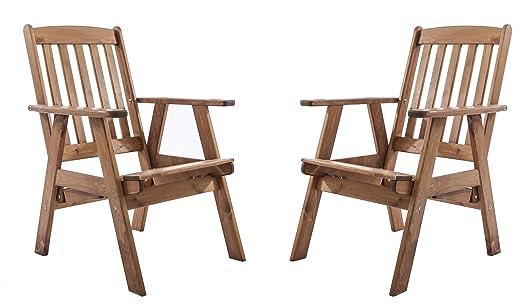 GARDENho. me Juego de 2 sillones ajustable (Madera Maciza ...