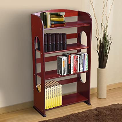 4 Tier Size Dark Painting Finish Color Yescom Wood Bookcase Bookshelf