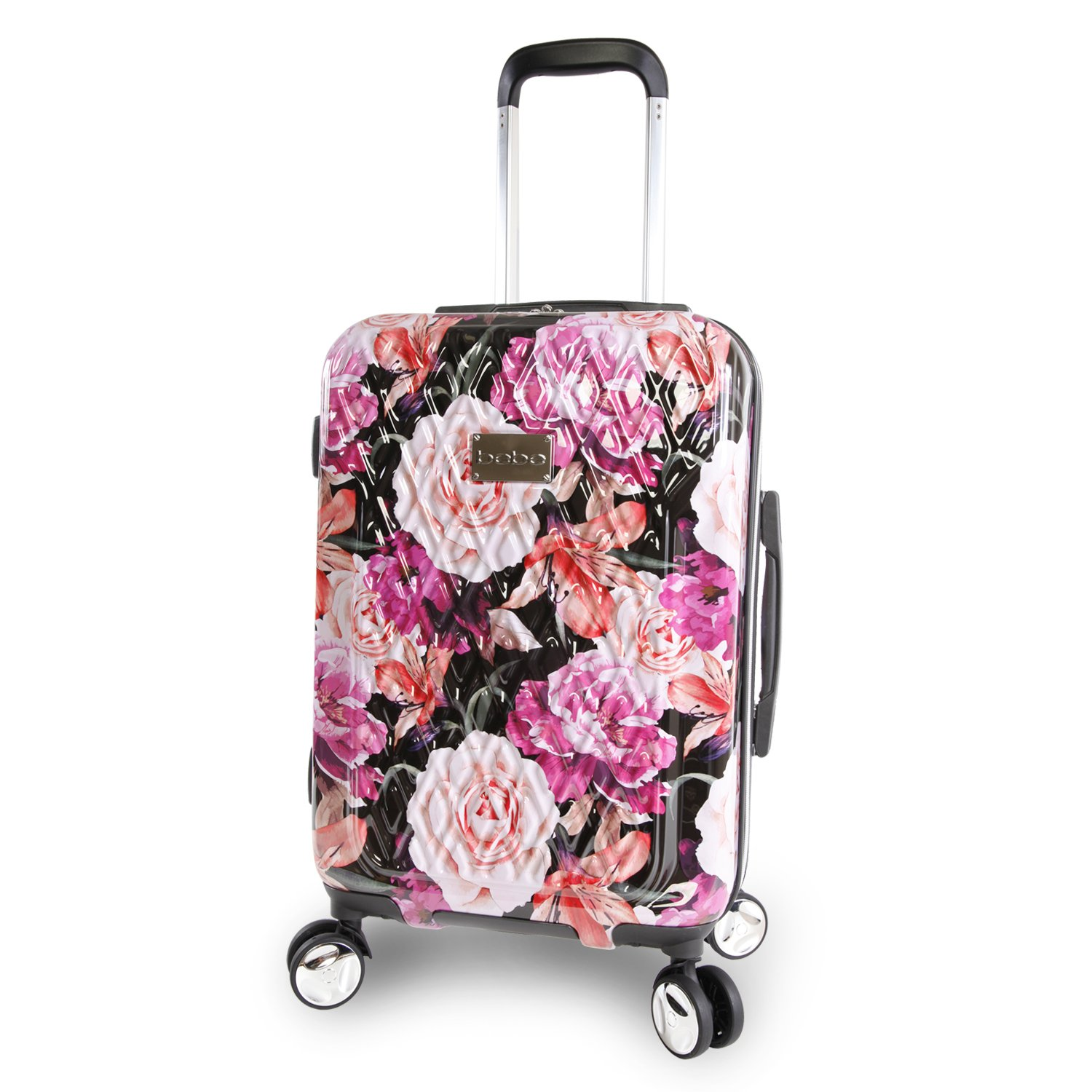 Bebe Women's Marie 21 Hardside Carry-on Spinner Luggage, Black Floral Print BeBe Luggage BE-PC-7121