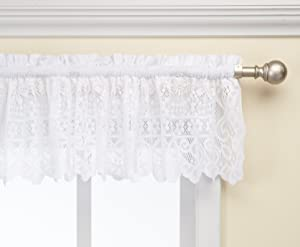 LORRAINE HOME FASHIONS Hopewell Lace Window Valance, 58-Inch by 12-Inch, White