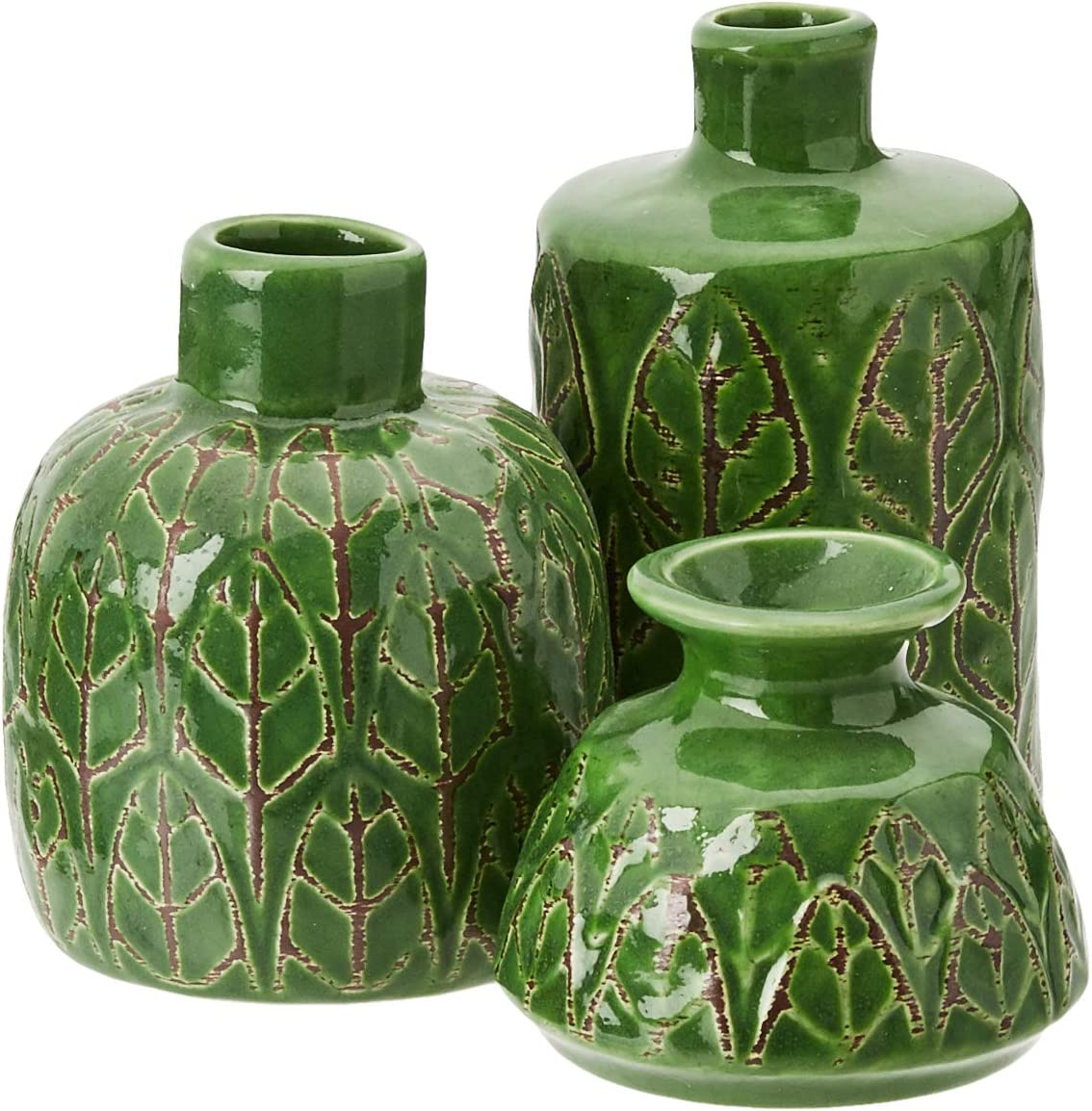 Creative Co-Op Green Embossed Stoneware Vases (Set of 3 Sizes)