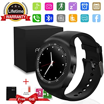 Smartwatch, Impermeable Reloj Inteligente Redondo con Sim Tarjeta Camara Whatsapp, Bluetooth Tactil Telefono Smart Watch Sport Fitness Tracker Smartwatches ...