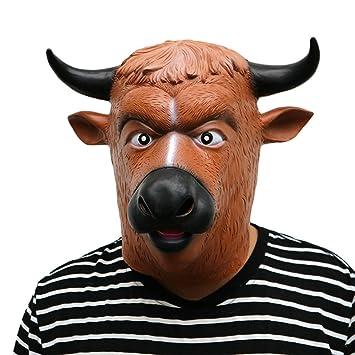 SonMo Mascara de Toro Mascara de Terror Mascara Halloween Buey Cuerno Negro Nariz Nregra