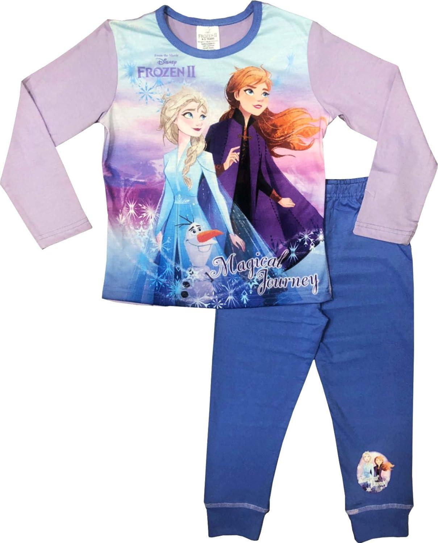 Girls Disney Frozen Pyjamas Elsa Anna Navy Blue pj/'s Night Wear Kids toddler