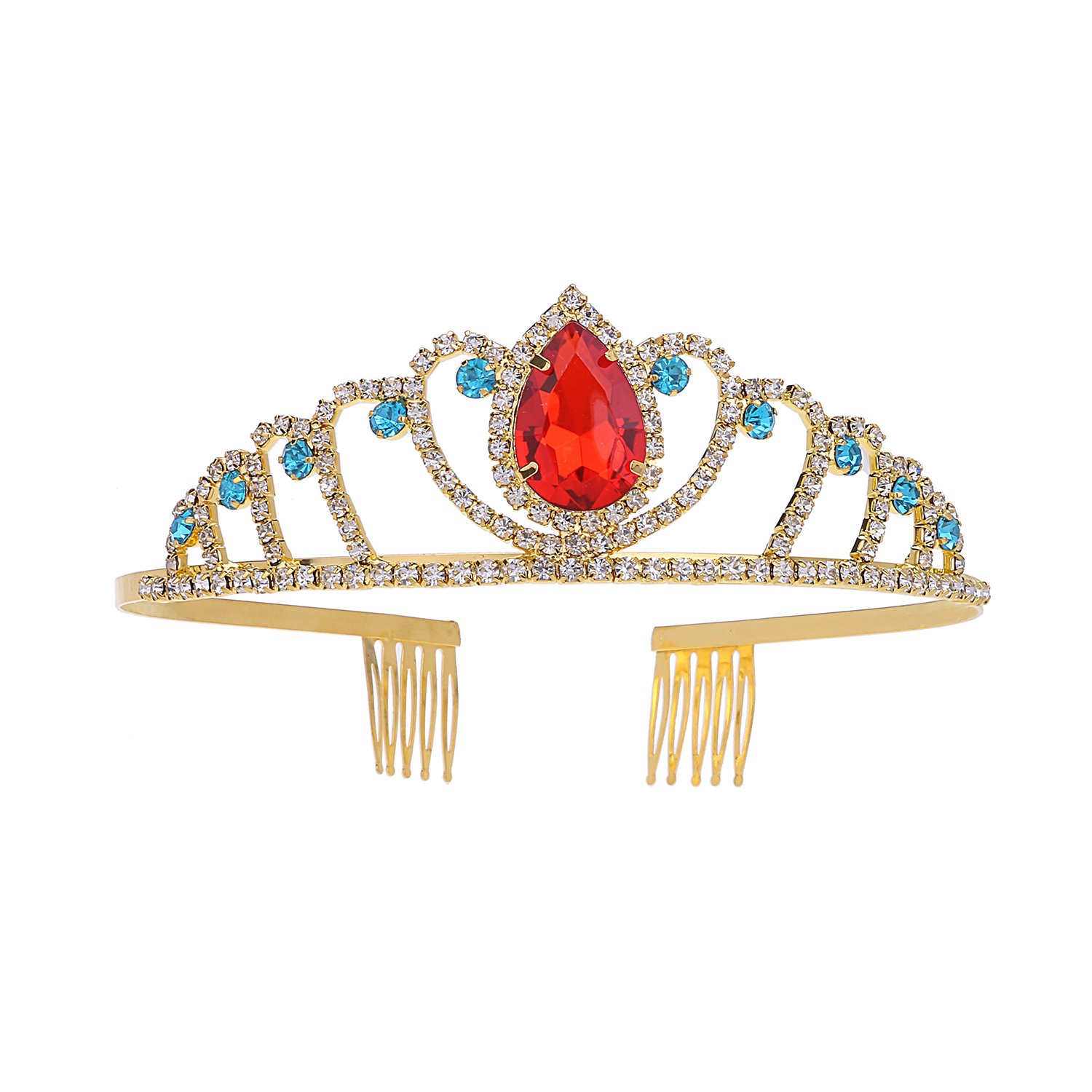 Red Crystal Princess Crown for Girl Baby Hair Jewelry Gold Queen Tiara Crowns
