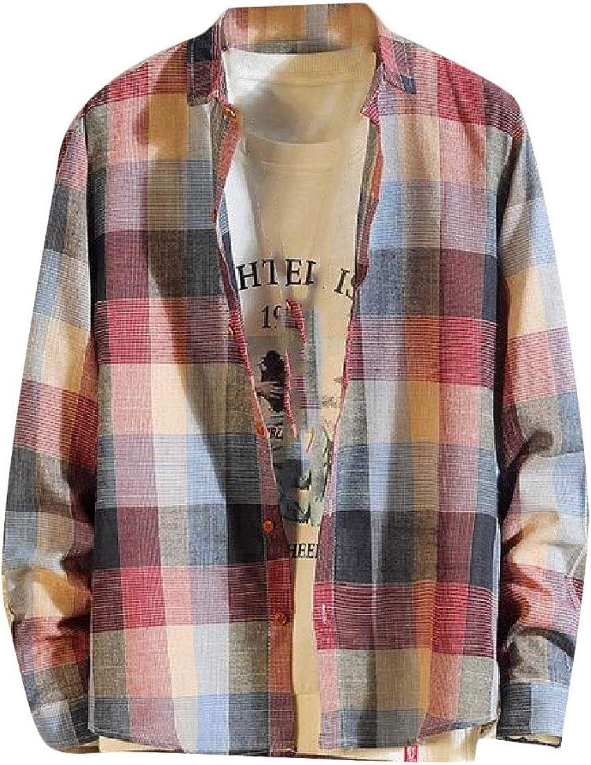 pipigo Men Basic Button Down Plaid Tops Long Sleeve Print Shirt