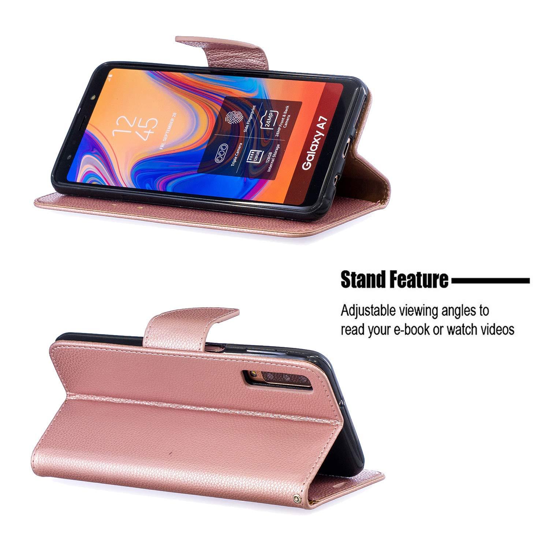 Custodia Portafoglio in Pelle Porta Carta di Credito con Chiusura Magnetica per Samsung Galaxy A7 2018 Lomogo Cover Samsung Galaxy A7 2018 // A750 - LOBFE130074 Oro