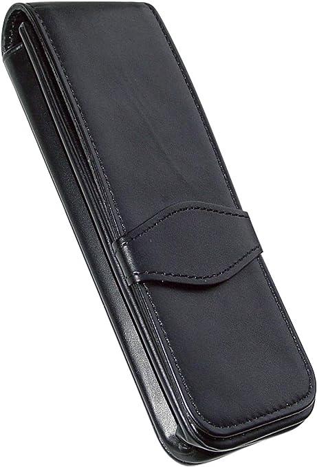 Online - Funda de piel para 3 bolígrafos, color negro: Amazon.es: Oficina y papelería