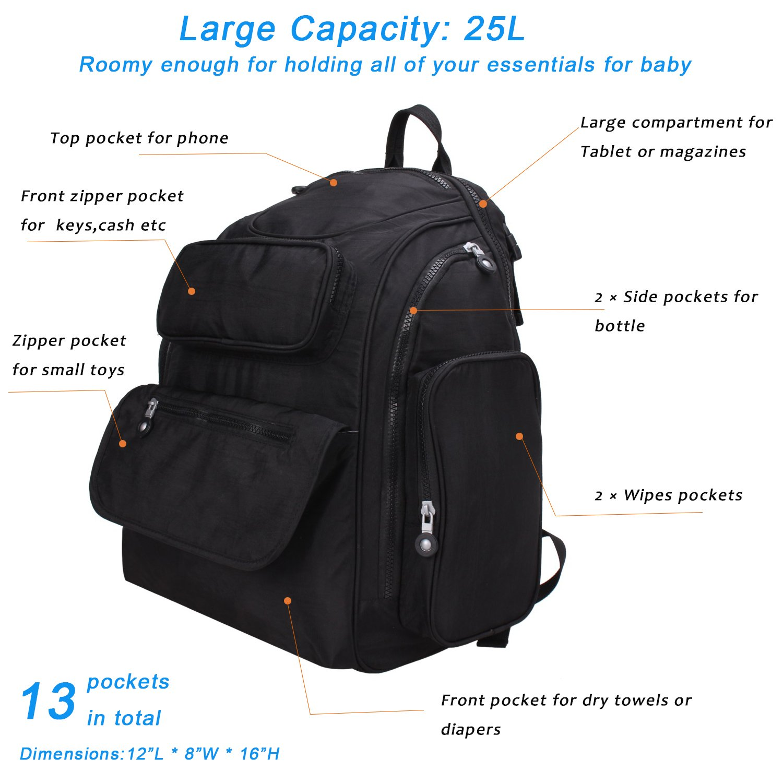 9e832c6d9607 Amazon.com  Large Baby Diaper Bag Set for Adult Men and Women