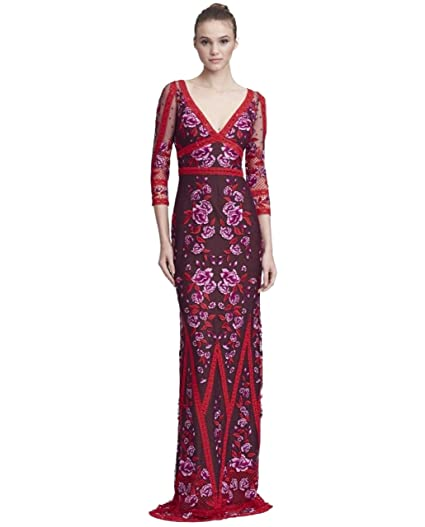 9fca3e99 Marchesa Notte Women's 3/4 Sleeve V-Neck Lace Gown 16 Wine at Amazon ...