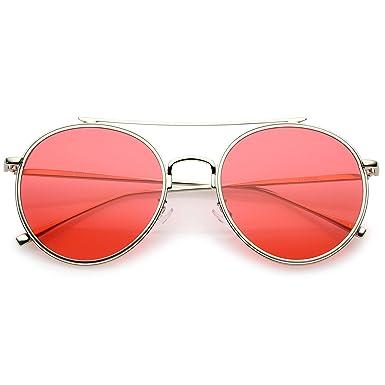 e5675b88651 sunglassLA - Modern Metal Crossbar Slim Temple Colored Flat Lens Round  Aviator Sunglasses 54mm  Amazon.co.uk  Clothing