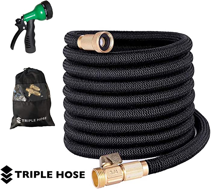 "Triple Hose Garden Hose | Strongest Expandable Hose Triple Layer Latex Core | ¾"" Solid Brass Shut Off Valve 