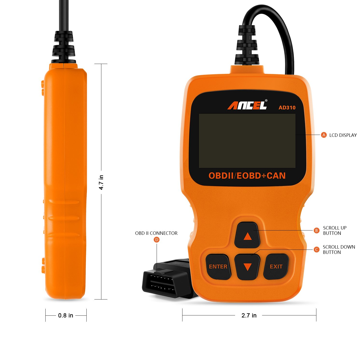 ANCEL AD310 Diagnostic Scan Tool - Orange