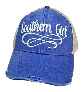 f5ff064f8b46e Loaded Lids Women s Southern Girl Bling Trucker Style Baseball Cap  (Blue White)