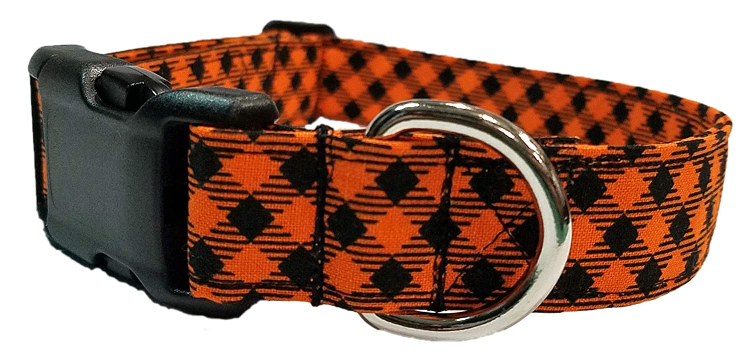 Orange Plaid Dog Collar Puppy bias black check Halloween fall Fabric Adjustable Buckle D Ring Mini Small Extra Large buffalo gingham