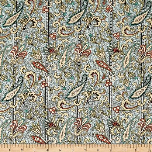 (QT Fabrics Antiquities Bethel Paisley Stripe Aqua Yard)