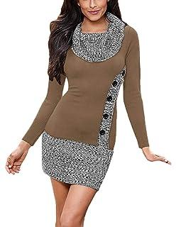 Aleumdr Mujer Vestido de Punto con Botón Suéter Cuello Redondo Jerséis Casual para Mujer Size S-L