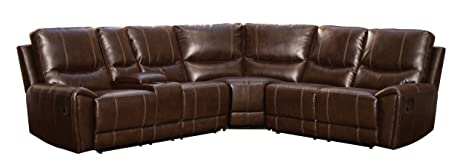 Homelegance 3 Piece Bonded Leather Sectional Reclining Sofa with Cup Holder Console Brown  sc 1 st  Amazon.com : reclining sectional with cup holders - Sectionals, Sofas & Couches