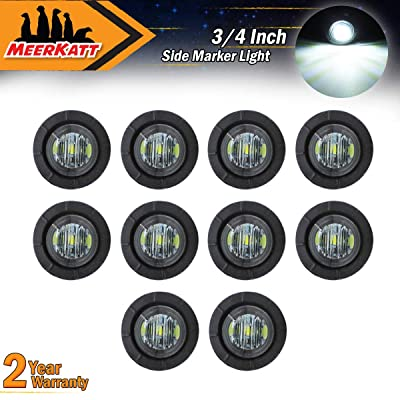 Meerkatt (Pack of 10) 3/4 Inch Miniature Round Smoked Lens White LED Flush Mount Side Marker Clearance Lamp Indicator Light Pickup Lorry Camper Tow Truck Trailer Boat ATV SUV MPV RV Waterproof 12V DC: Automotive
