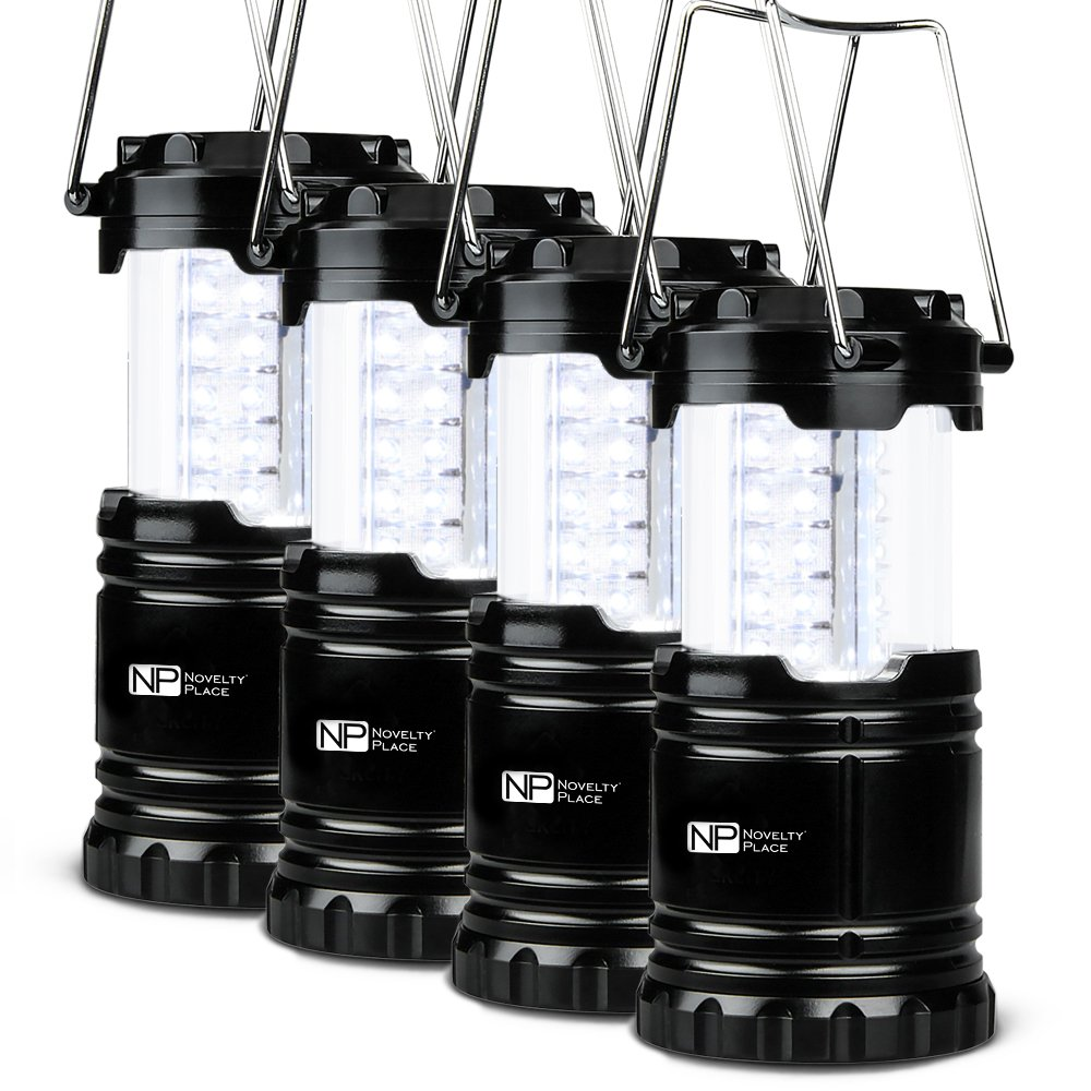 4 Pack Portable LED Camping Lantern, Novelty Place [Heavy Duty & Waterproof] Outdoor Hiking Gear Lights - Ultra Bright Compact Size - Battery Powered Emergency Flashlight by Novelty Place (Image #1)