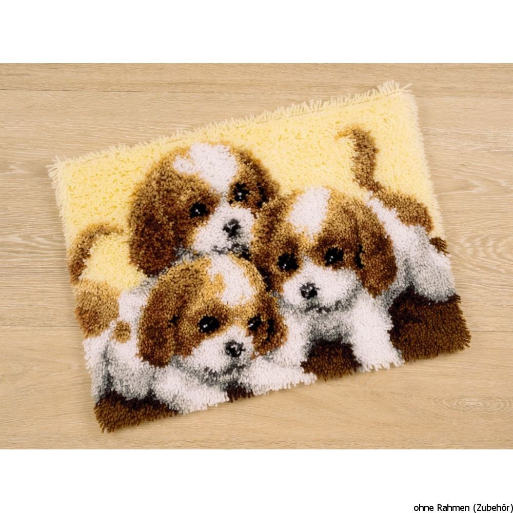 Vervaco PN-0147227 Canvas Three Puppies Rug Latch Hook Kit 55 x 40cm Approx