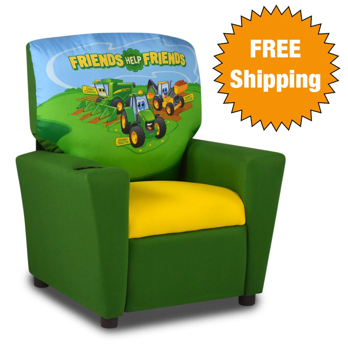 Johnny Tractor Kid's Recliner with Cupholder on Arm Rest by bWise USA
