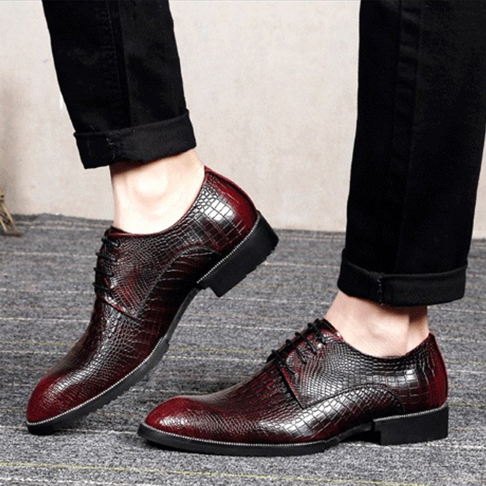 Shoes Mens Genuine Leather Shoes Crocodile Skin Texture Upper Lace Up Breathable Business Lined Oxfords Dress Shoes Formal