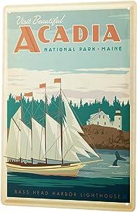 LEotiE SINCE 2004 Tin Sign Metal Plate Decorative Sign Home Decor Plaques Wall Decor Adventurer Acadia National Park Maine Metal Plate 8X12