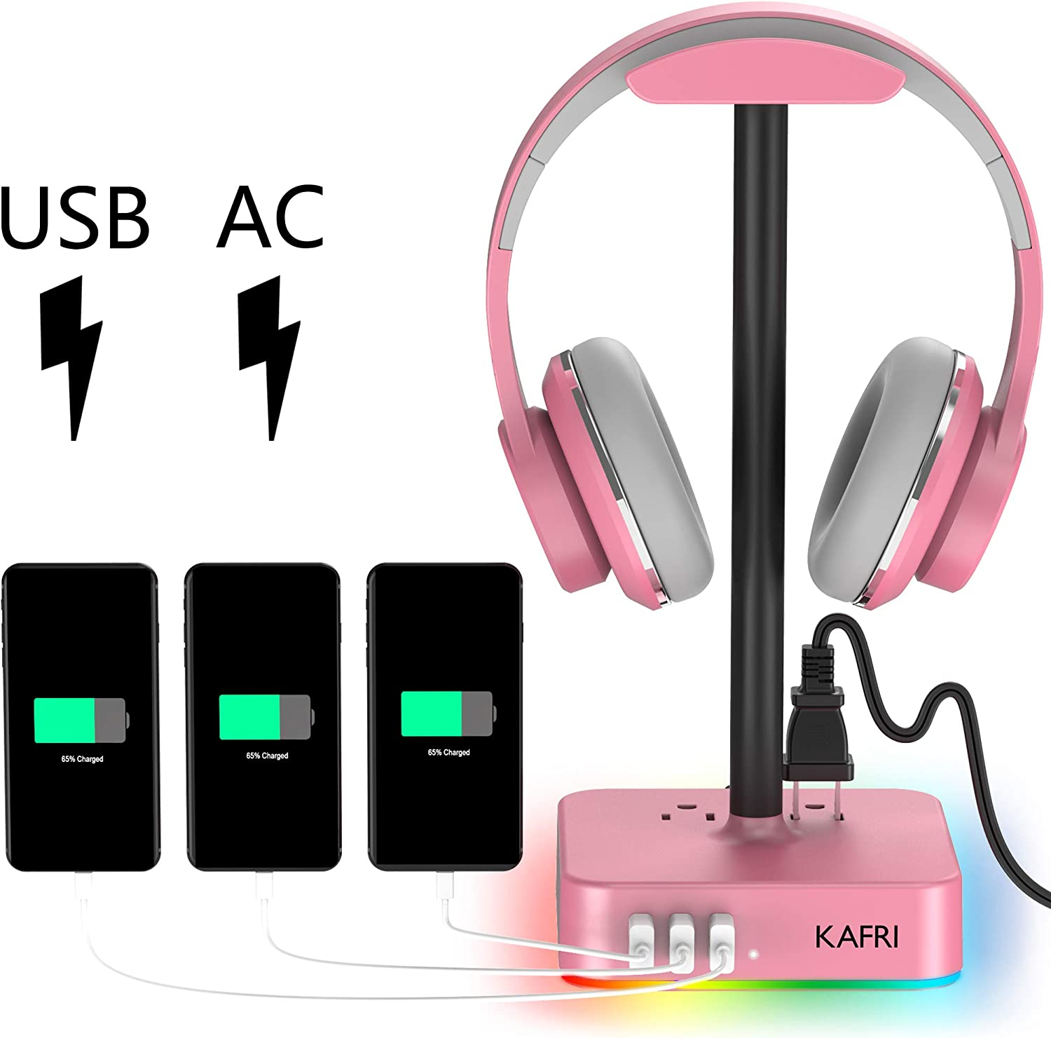 RGB Headphone Stand with USB Charger KAFRI Desk Gaming Headset Holder Hanger Rack with 3 USB Charging Port and 2 Outlet - Suitable for Gamer Desktop Table Game Earphone Accessories Girlfriend Gift