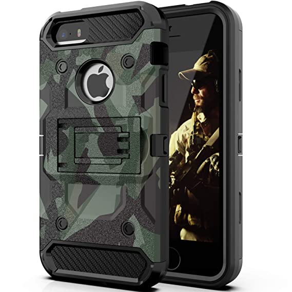 size 40 73066 1a17f Halwen iPhone 5 Case, iPhone 5S Case and iPhone SE/SE 2 Case, Man Armor  Soldier Kickstand Military Case Three Layer Protective Shockproof Cover for  ...