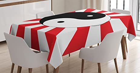 Ying Yang Decor Tablecloth By Ambesonne Traditional Asian Themed Ying Yang On Chinese Rising Sun