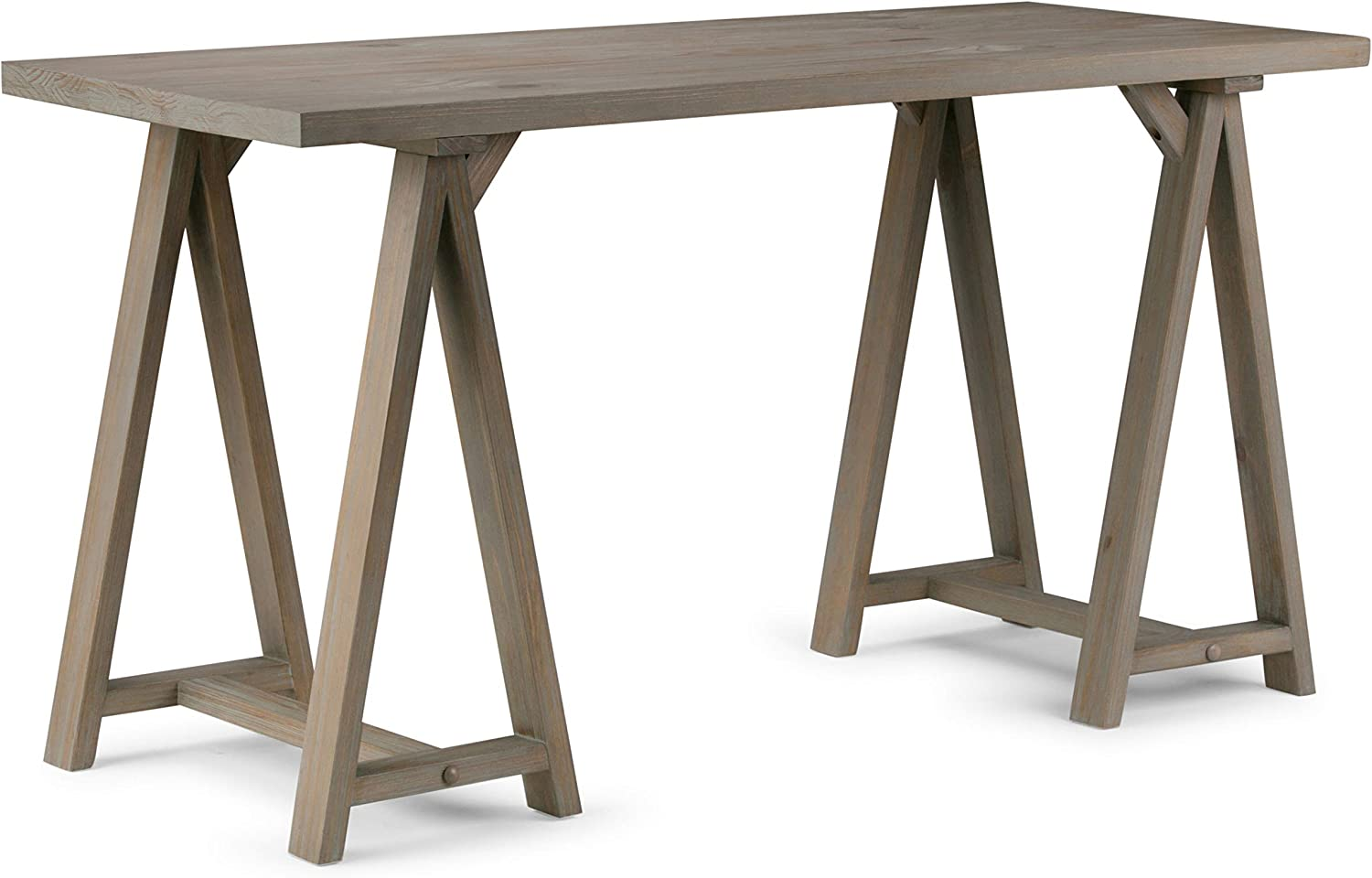 SIMPLIHOME Sawhorse SOLID WOOD Industrial Contemporary 56 inch Wide Home Office Desk, Writing Table, Workstation, Study Table Furniture in Distressed Grey