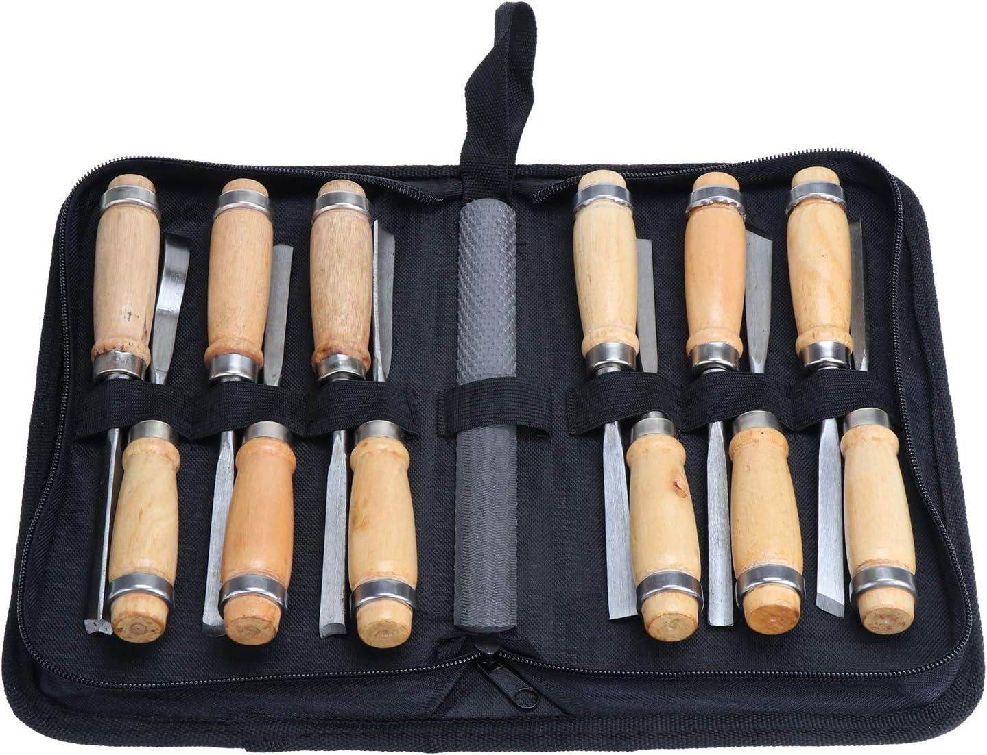escultura 12 piezas con piedra de afilar de doble cara para carpinter/ía carpinter/ía manualidades Juego de cinceles para tallar madera
