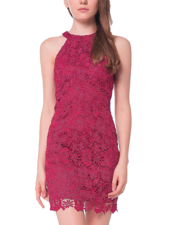2c7b88c4d451 Lamilus Women's Casual Sleeveless Halter Neck Party Lace Mini Dress at  Amazon Women's Clothing store: