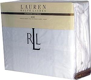 Lauren Ralph Lauren 3 Piece Twin Dunham Sateen Cotton Sheet Set Solid White