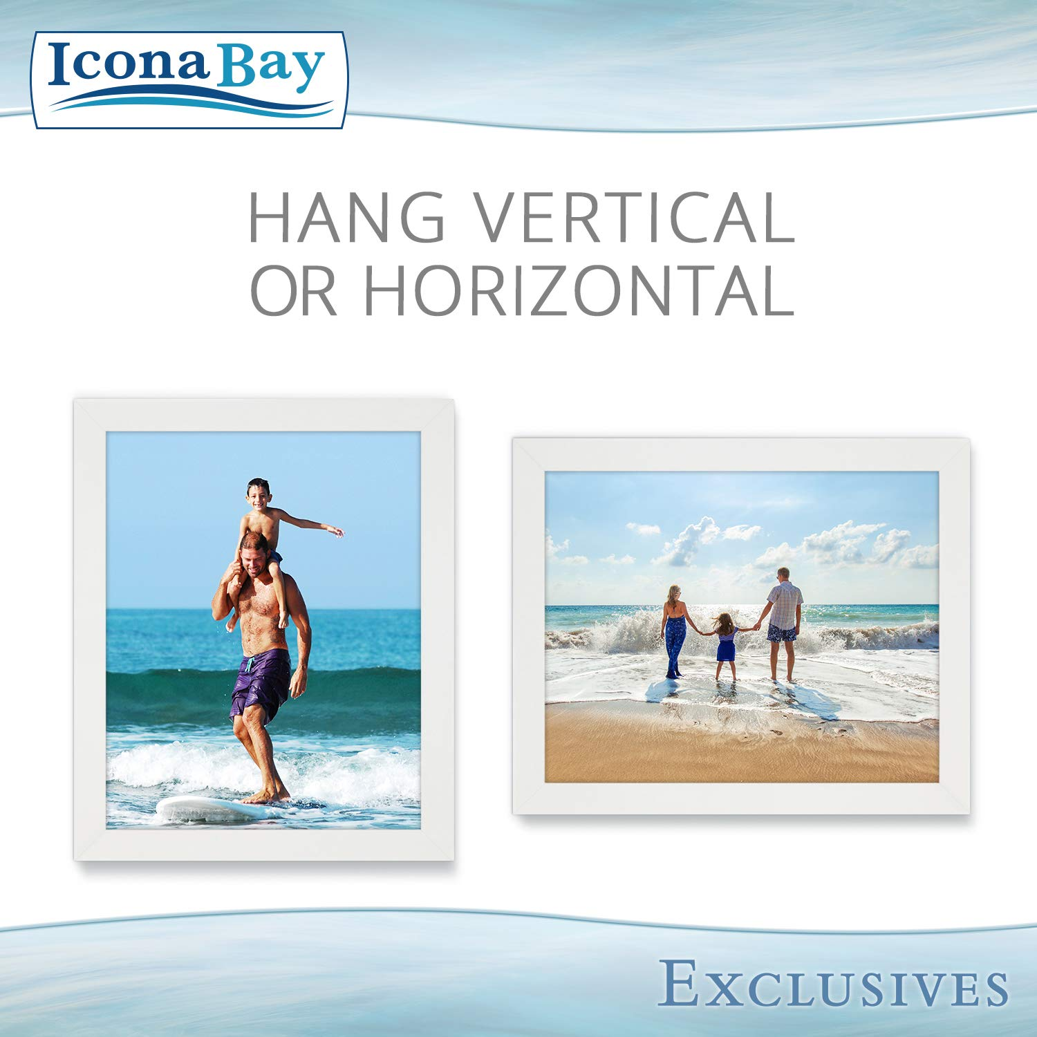Icona Bay 8x10 Picture Frame (6 Pack, White), White Sturdy Wood Composite Photo Frame 8 x 10, Wall or Table Mount, Set of 6 Exclusives Collection by Icona Bay (Image #4)