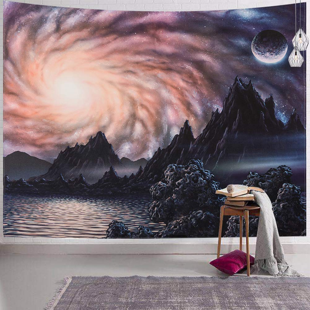 """SYNEE Galaxy Mountain Wall Tapestry Outer Space Stars Tapestry Starry Night Sky and Universe Celestial Tapestry Astronomy Art Decor Wall Hanging for Dorm Living Room Bedroom (L 59.1""""×82.7"""")"""