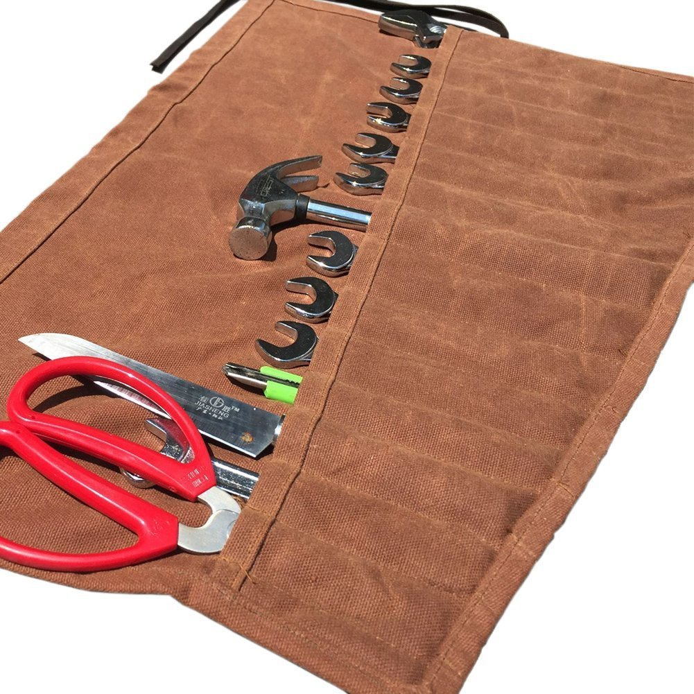 Waterproof Waxed Canvas Chef's Knife Roll Tool Roll Organizer Multi-Purpose Heavy Duty Tool Bag with 14 Pockets Roll Pouch for Hiking Camping Handymen Repairmen Roofer DIY Enthusiast HGJ03-F-US by Hense (Image #5)