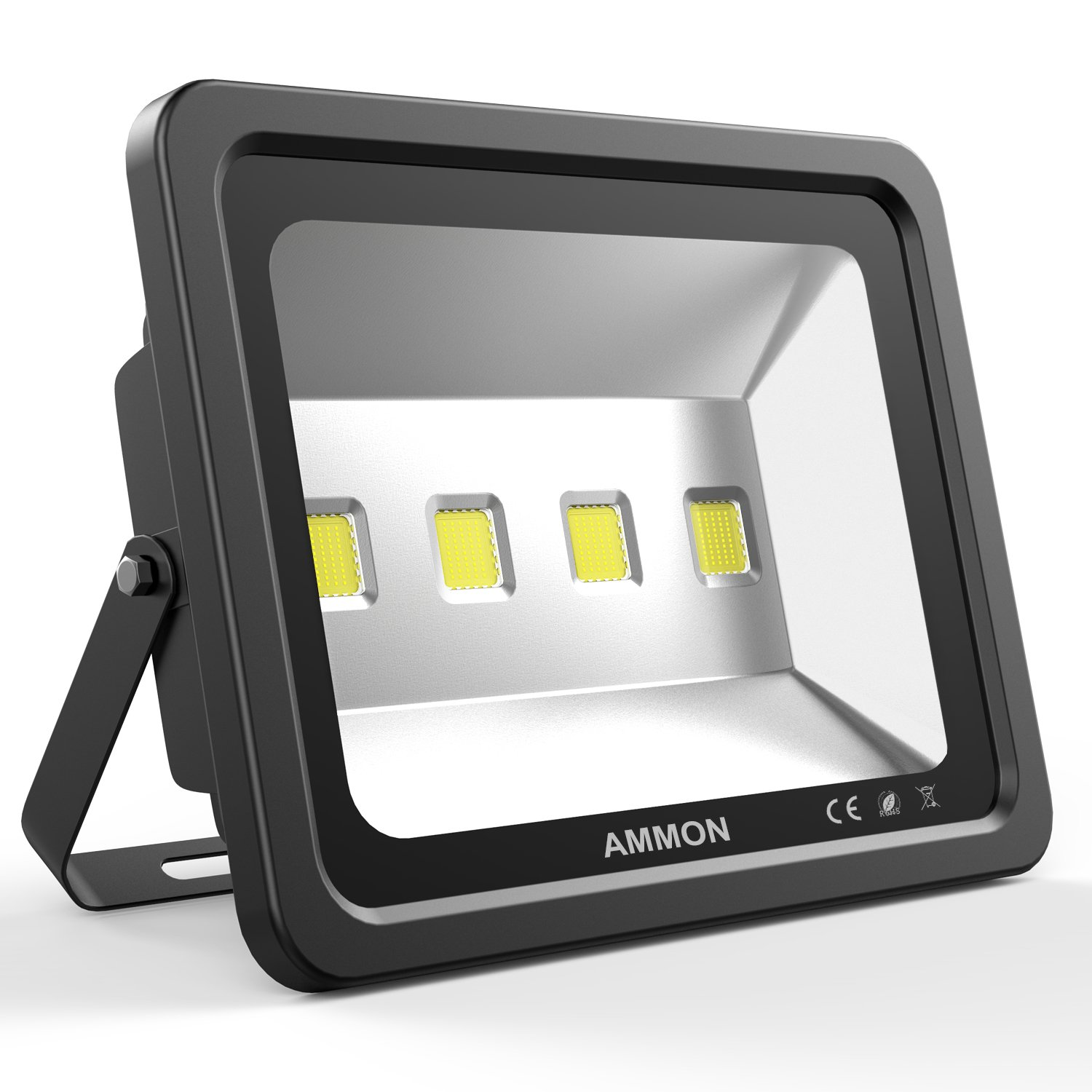 AMMON LED Flood Light, 200W Outdoor Waterproof IP65 20000lm Super Bright Flood Lamp Cool White 6000K Spotlight Lamp Daylight for Garden Yard, Party, Playground(black-200watt) by AMMON
