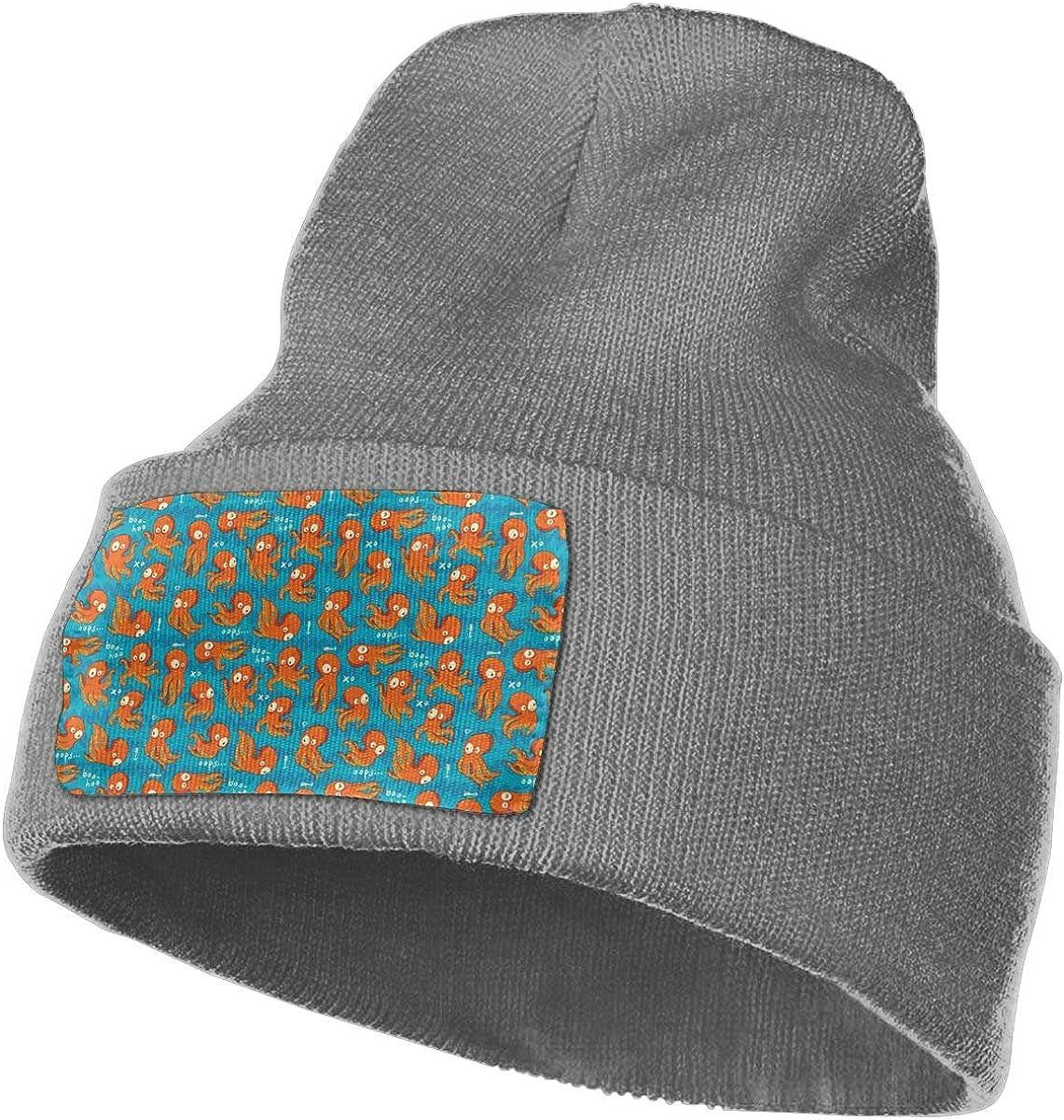 Orange Octopuses Men Women Soft Warm Knitting Beanie Hat Skull Serious Style Hats