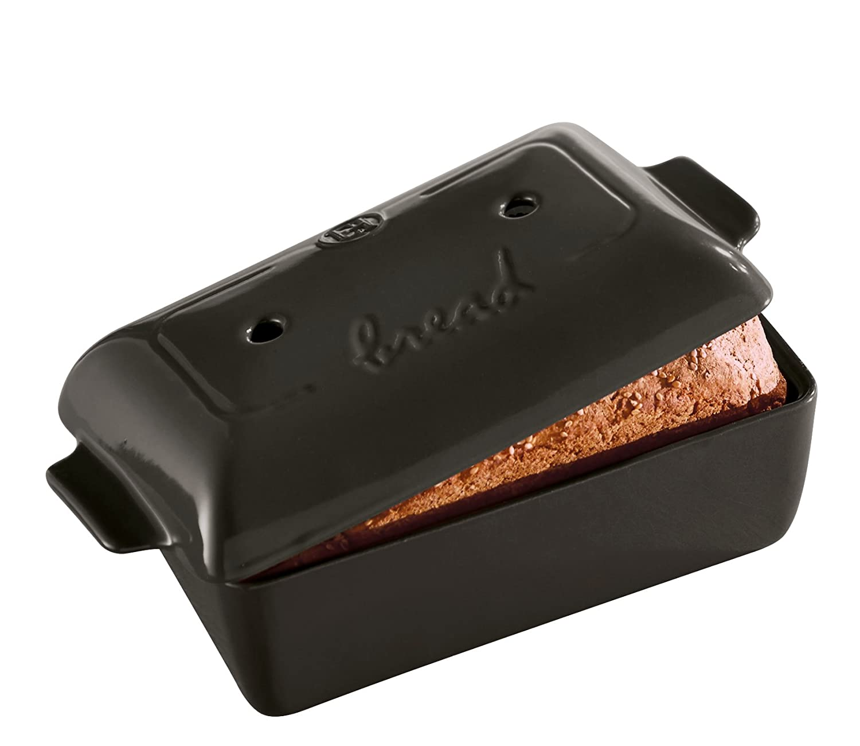 "Emile Henry Made In France Bread Loaf Baker, 9.4 x 5"""", Charcoal"