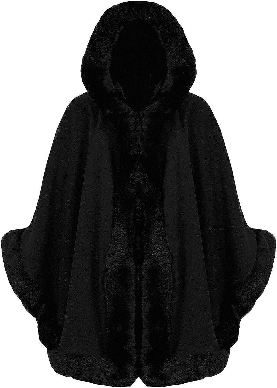 FASHIONCHIC Womens Faux Fur Poncho Cape Celeb Ladies Trim Hooded Lush Wrap Jumper Jacket Coat 8-16